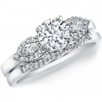 14k White Gold Three Stone Semi Mount Bridal Set