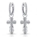 14k White Gold Vintage Diamond Cross Earrings