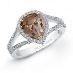 18k White Gold Pear Shaped Rose Cut Halo Brown Diamond Ring