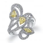 18k White and Yellow Gold Fancy Yellow Diamond Fashion Ring