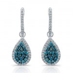 14k White Gold Treated Blue Diamond Earrings