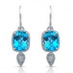 14k White Gold Blue Topaz Diamond Earrings