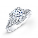 14k White Gold White Diamond Square Halo Engagement ring