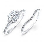 14k White Gold White Diamond Bridal Set