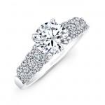 18k White Gold Three Row Diamond Engagement Ring