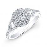 14k White Gold Double Halo Split Shank Engagement Ring