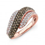 14k Rose and Black Gold Brown Diamond Contrast Waves Fashion Band