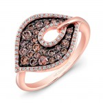 14k Rose and Black Gold Brown Diamond Marquise Ring