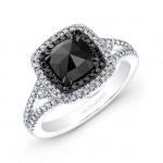 14k White and Black Gold Black Rose-Cut Diamond Center Engagement Ring