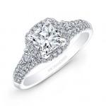 14k White Gold Diamond Halo Diamond Side Stone Engagement Ring