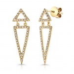 14k Yellow Gold White Diamond Double Triangle Dangle Earrings