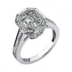 14k White Gold Baguette Diamond Mosaic Center Ring