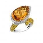 14k White and Yellow Gold Citrine Diamond Fashion Ring