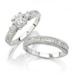 14k White Gold Princess Cut Diamond Bridal Set